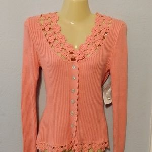 NWT Soft Surroundings salmon crochet lace cardigan